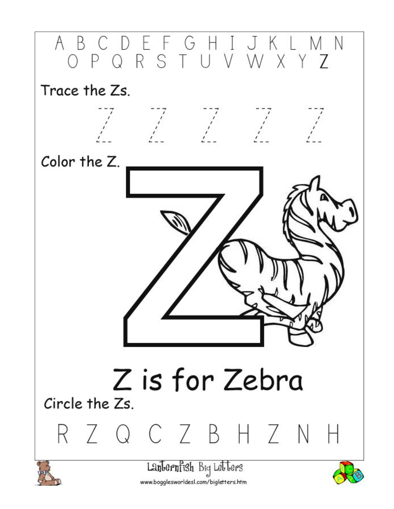 8 Images of Letter Z Printable Worksheets
