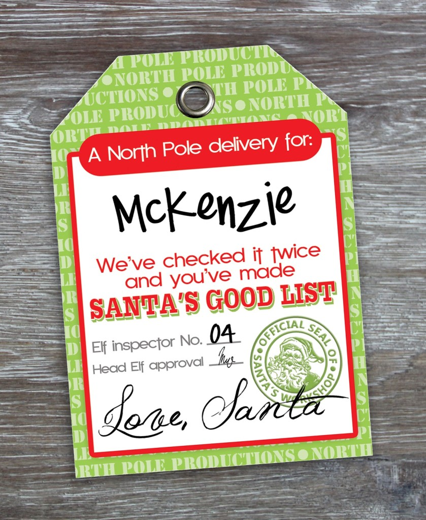 8 Images of Free Printable Gift Tags From Santa