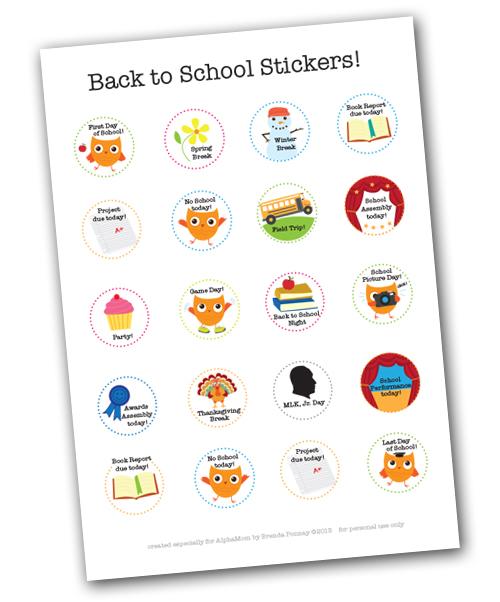 Printable School Calendar Stickers
