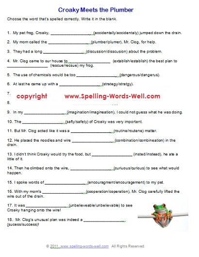 Free printable spelling worksheets for high school