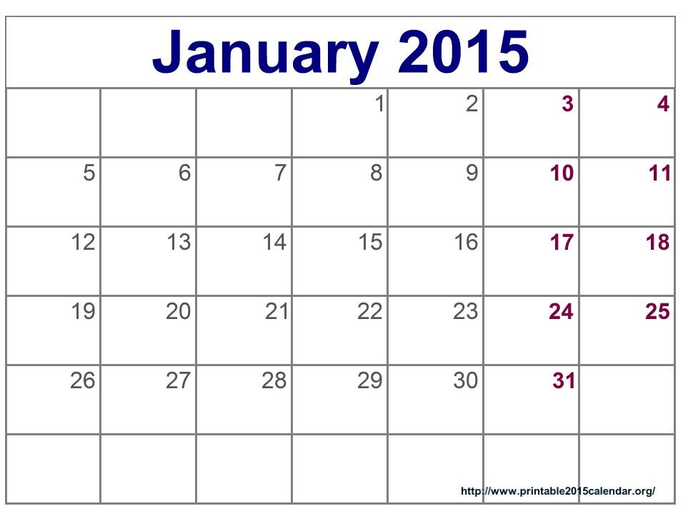2015 calendar janury