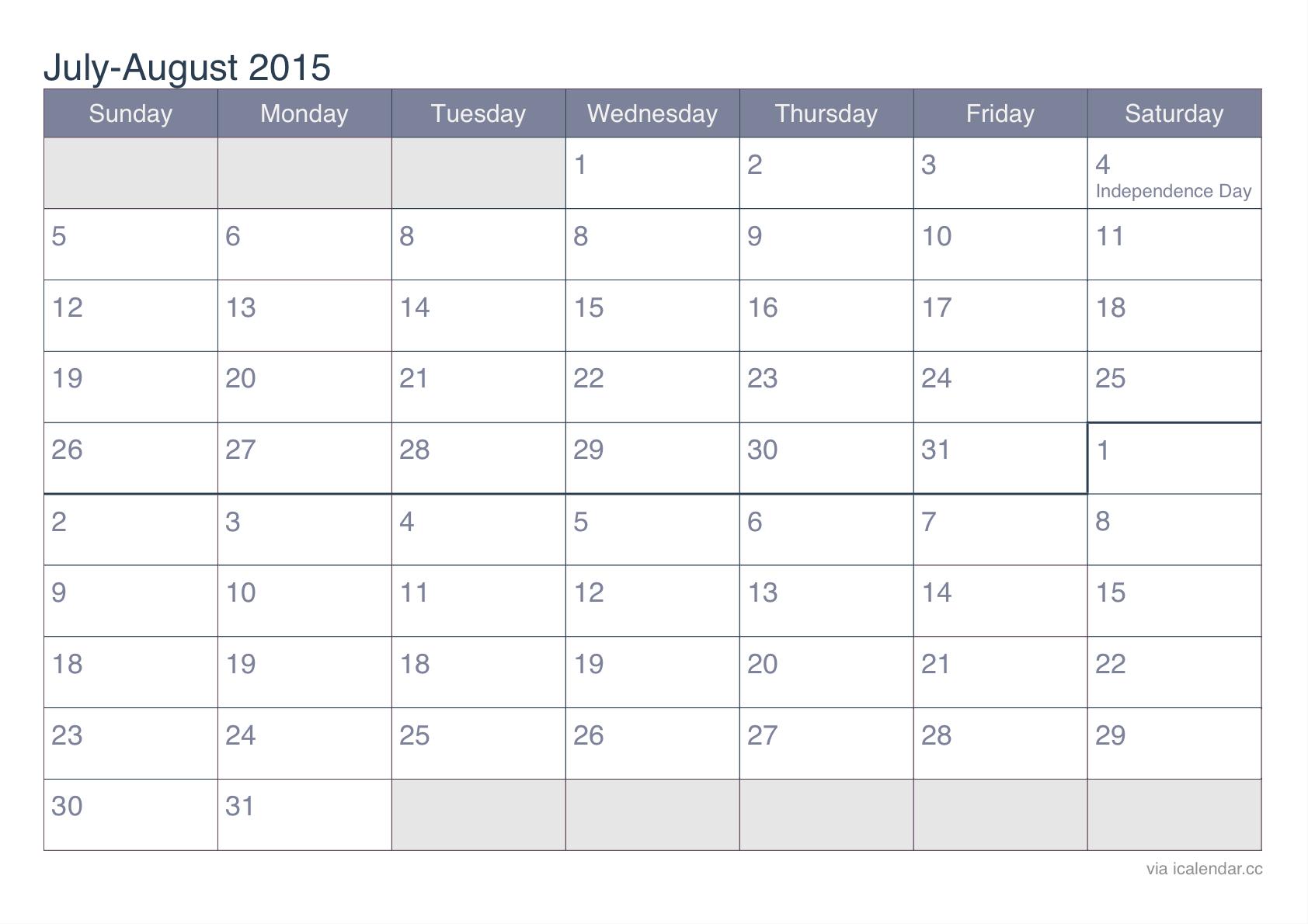 June July August Calendar 2015