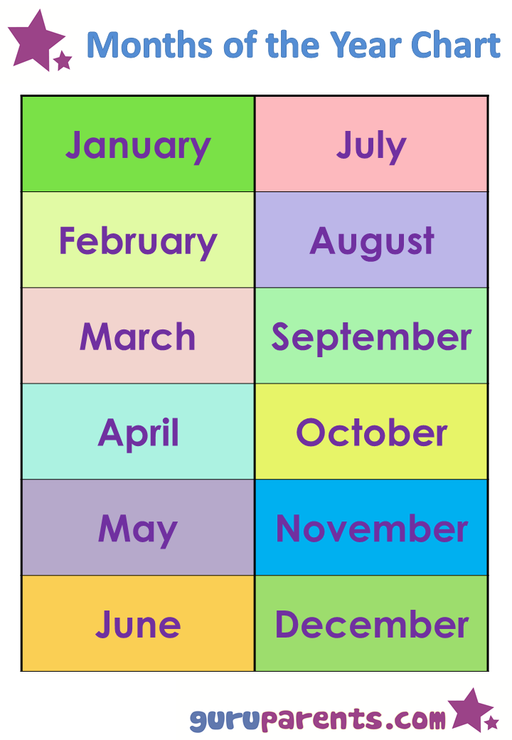 Calendar Year Names : Best images of printable months the names