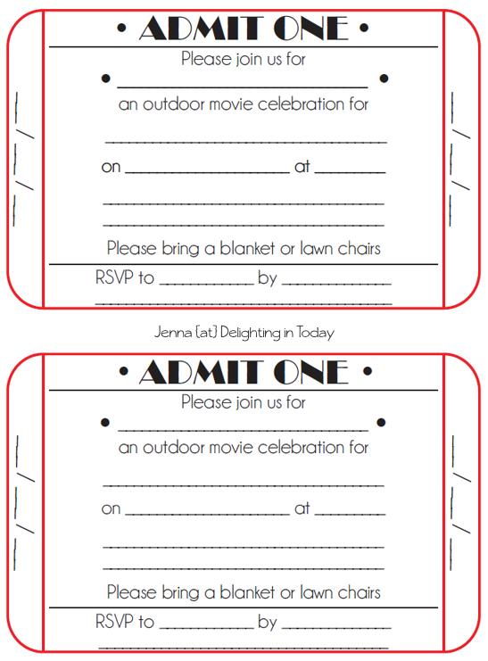 5 Images of Printable Movie Ticket Invitation Templates