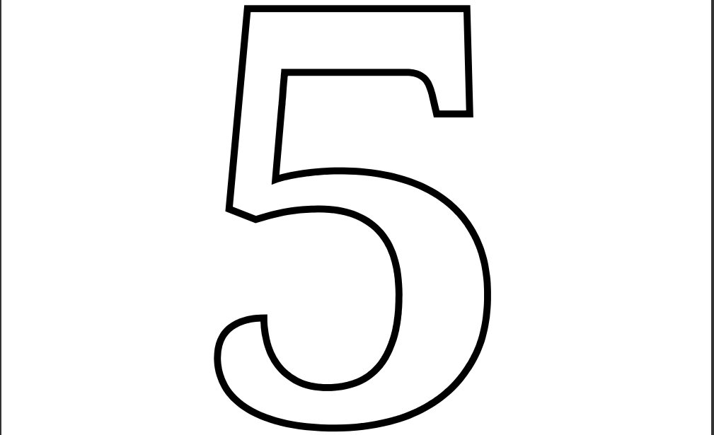 4 best images of printable number templates in color for Number 5 coloring page