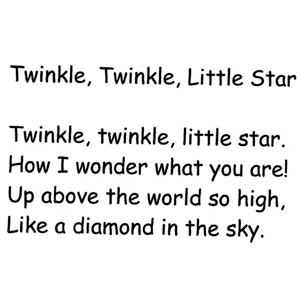 Nursery Rhyme Twinkle Little Star