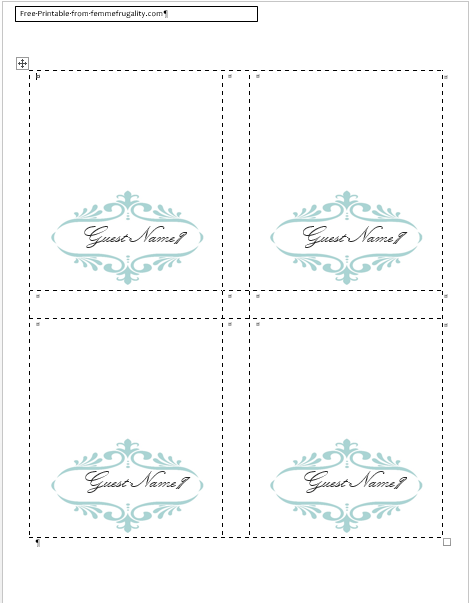 6 Images of Printable Place Card Border Templates