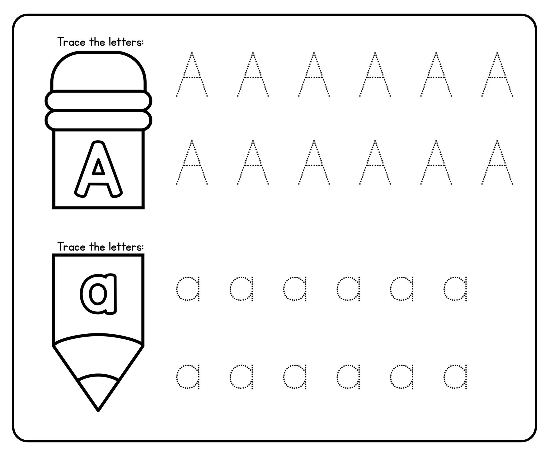 Preschool Worksheets Alphabet Tracing Letter A