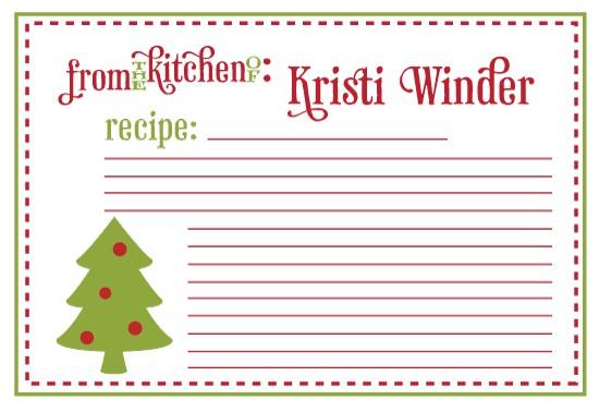 Printable Christmas Recipe Cards