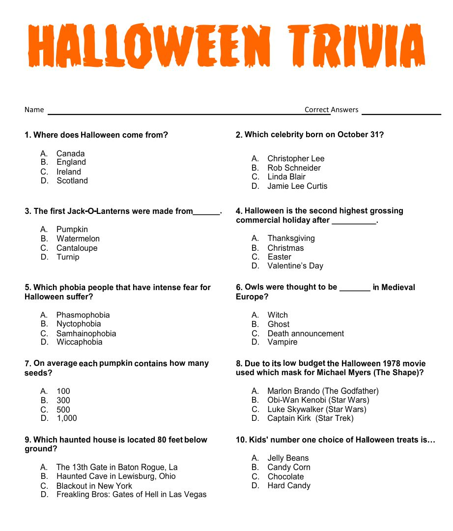 Printable Halloween Trivia Games
