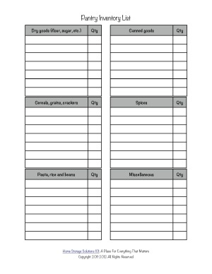 6 Images of Organizer Sheets Printable Pantry Organization