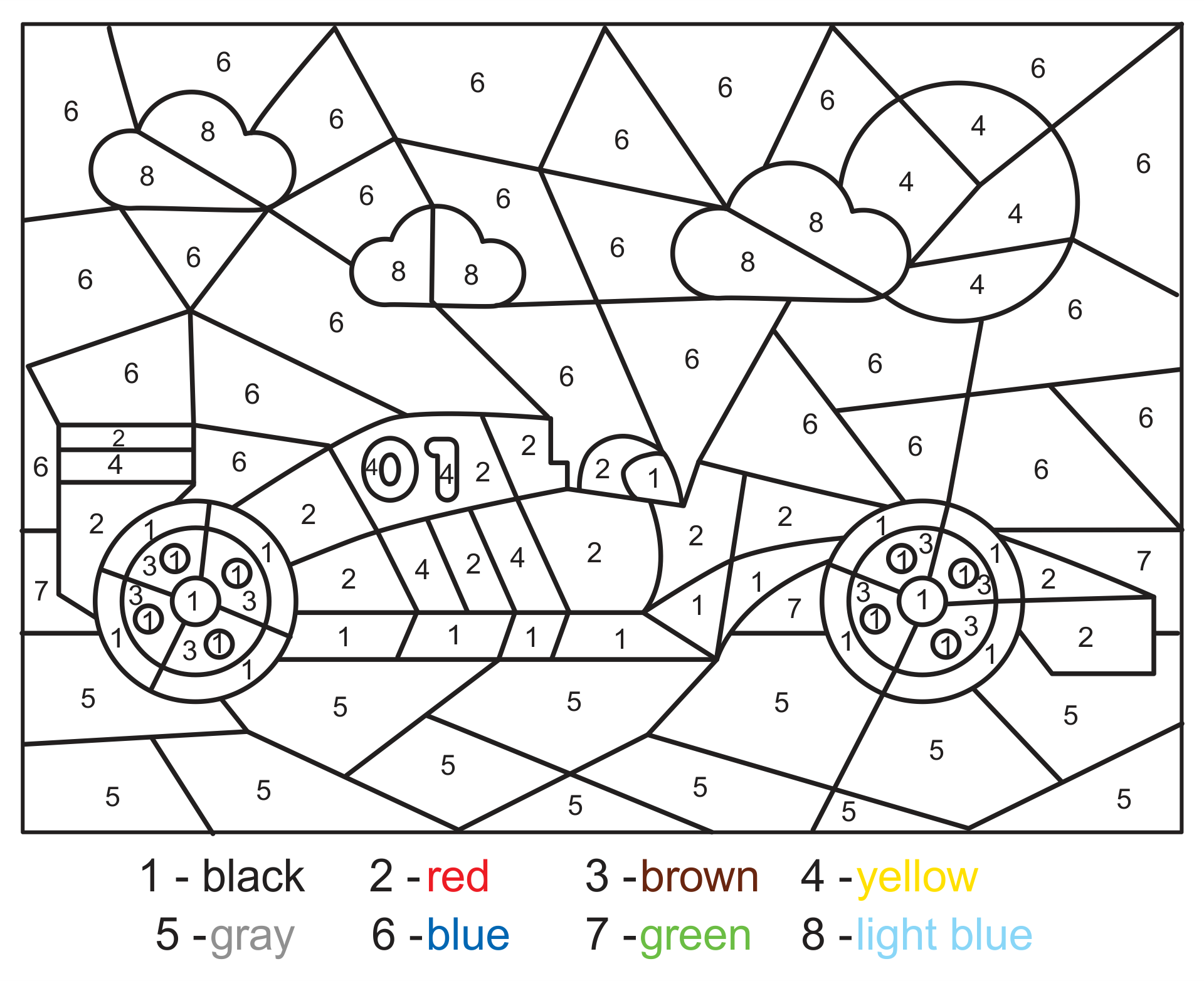 Race Car Color by Number