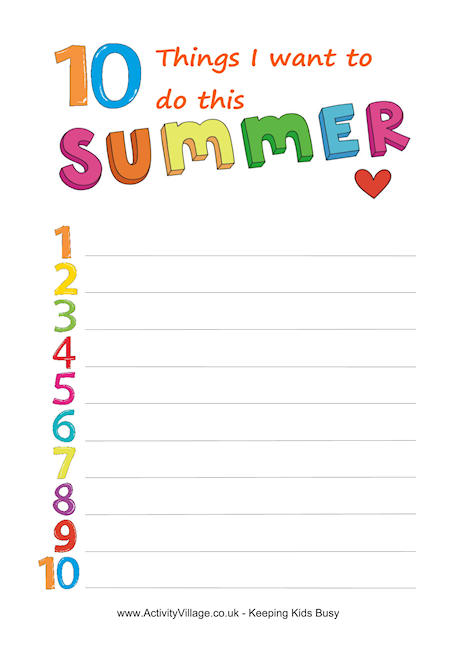 6 Images of Printable Activity Sheets Summer