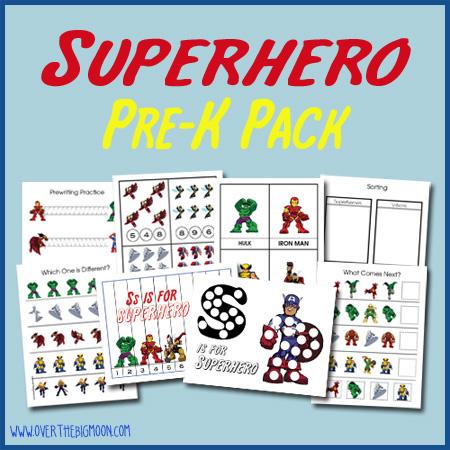 5 Images of Superhero Pre-K Pack Printables