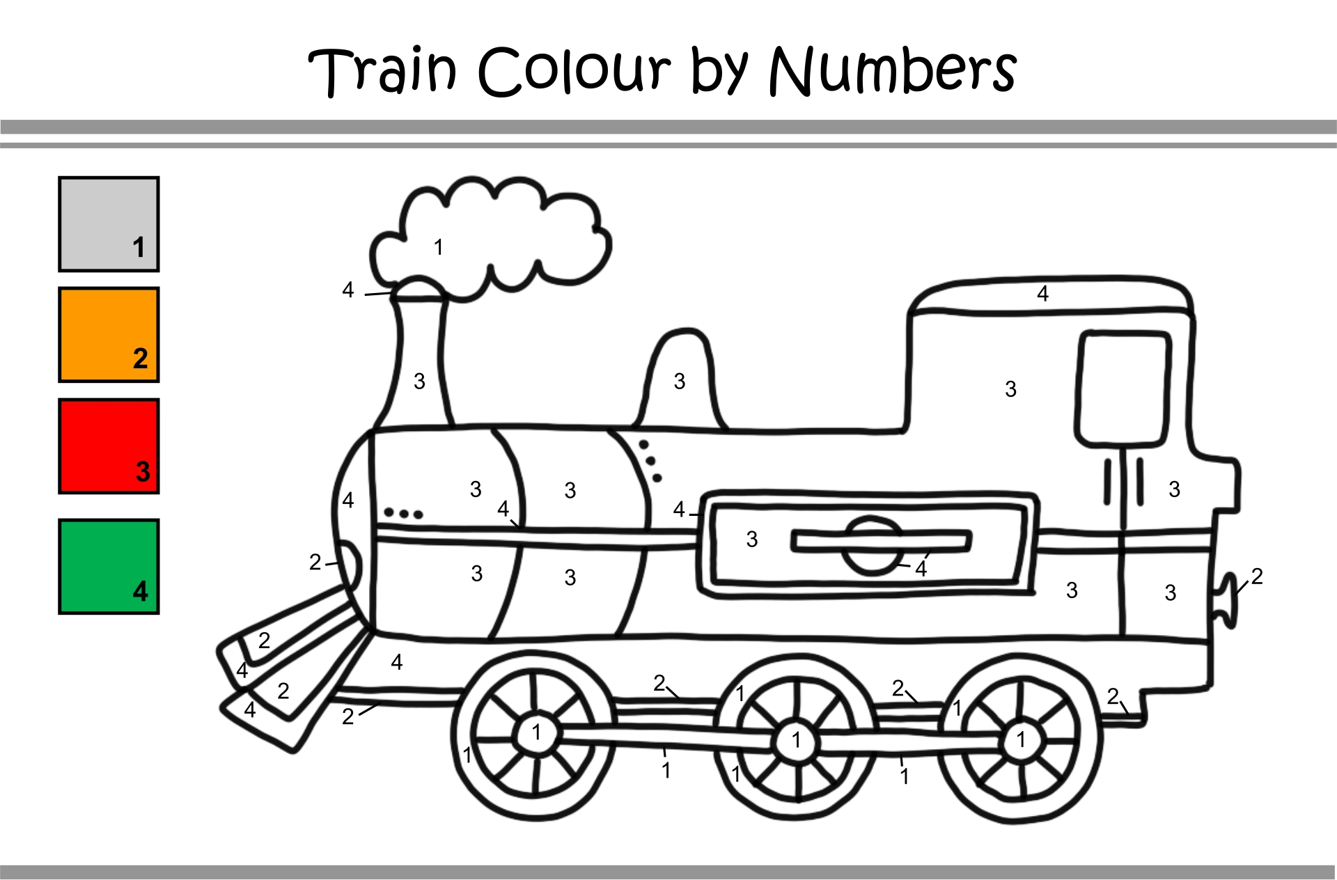 Train Color by Number Printables