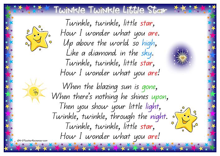 Guitar guitar tablature twinkle twinkle little star : 6 Best Images of Twinkle Twinkle Little Star Poem Printable ...