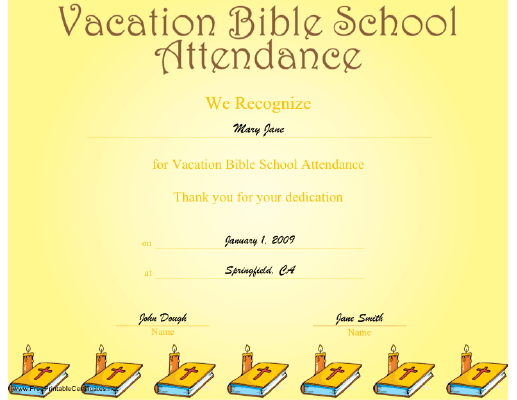 6 Images of Printable VBS Certificates