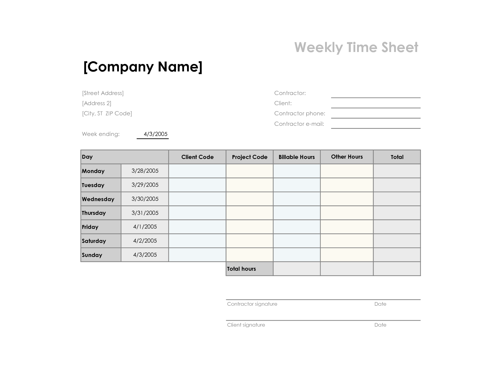 7 best images of simple printable time sheets printable for Easy timesheet template