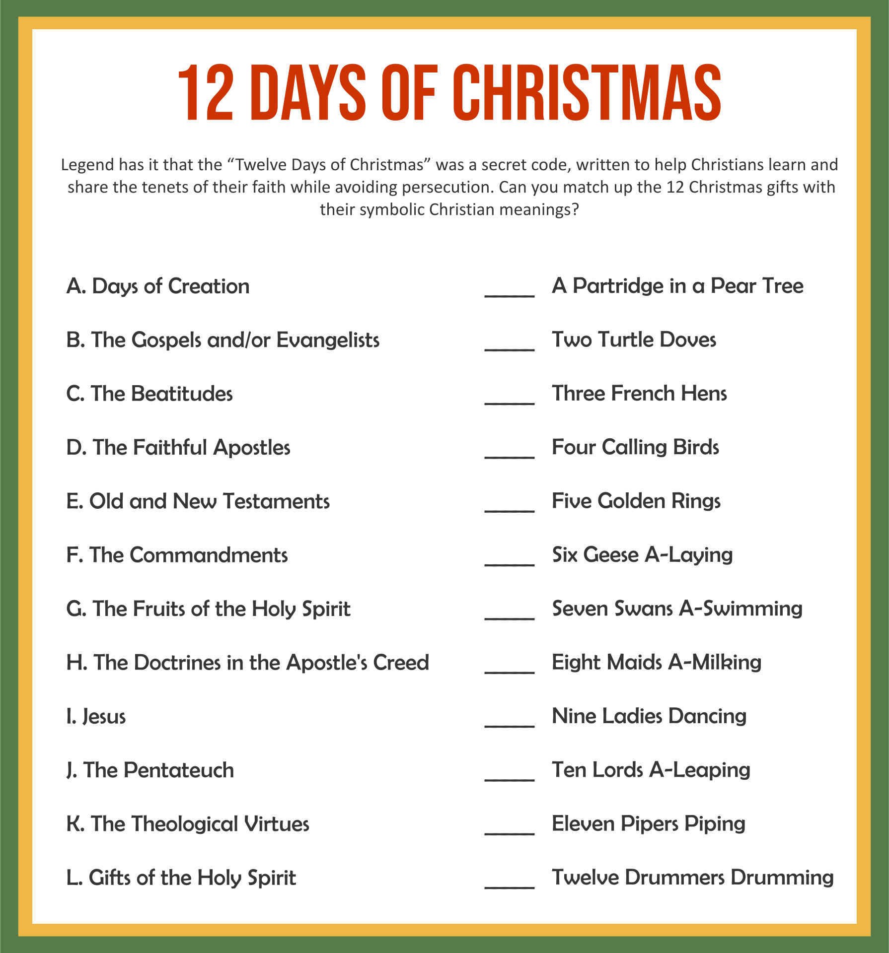 12 Days of Christmas Trivia