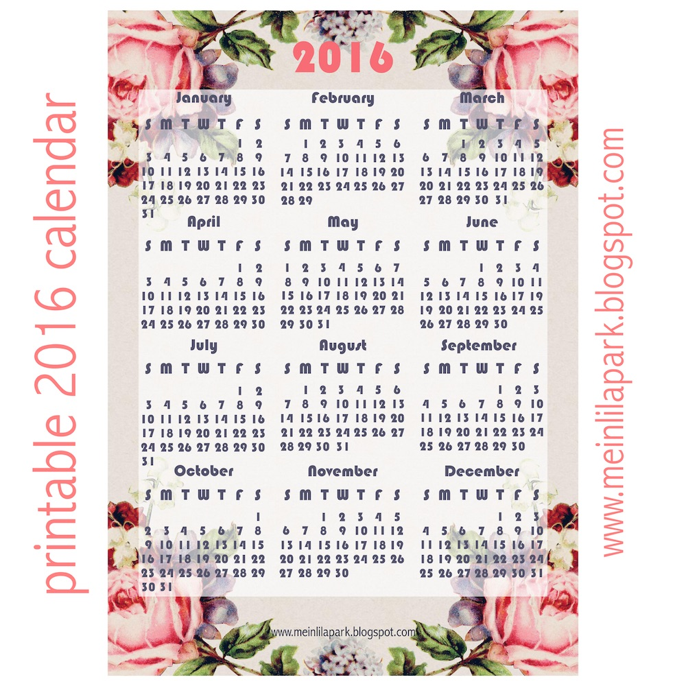 8 Images of Rose Free Printable 2016 Calendars