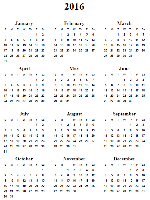 2016 Yearly Calendar Printable