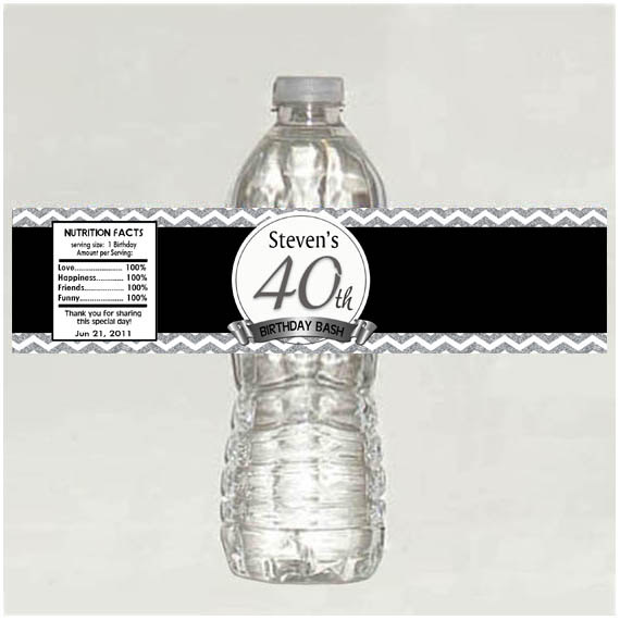40th Birthday Water Bottle Labels