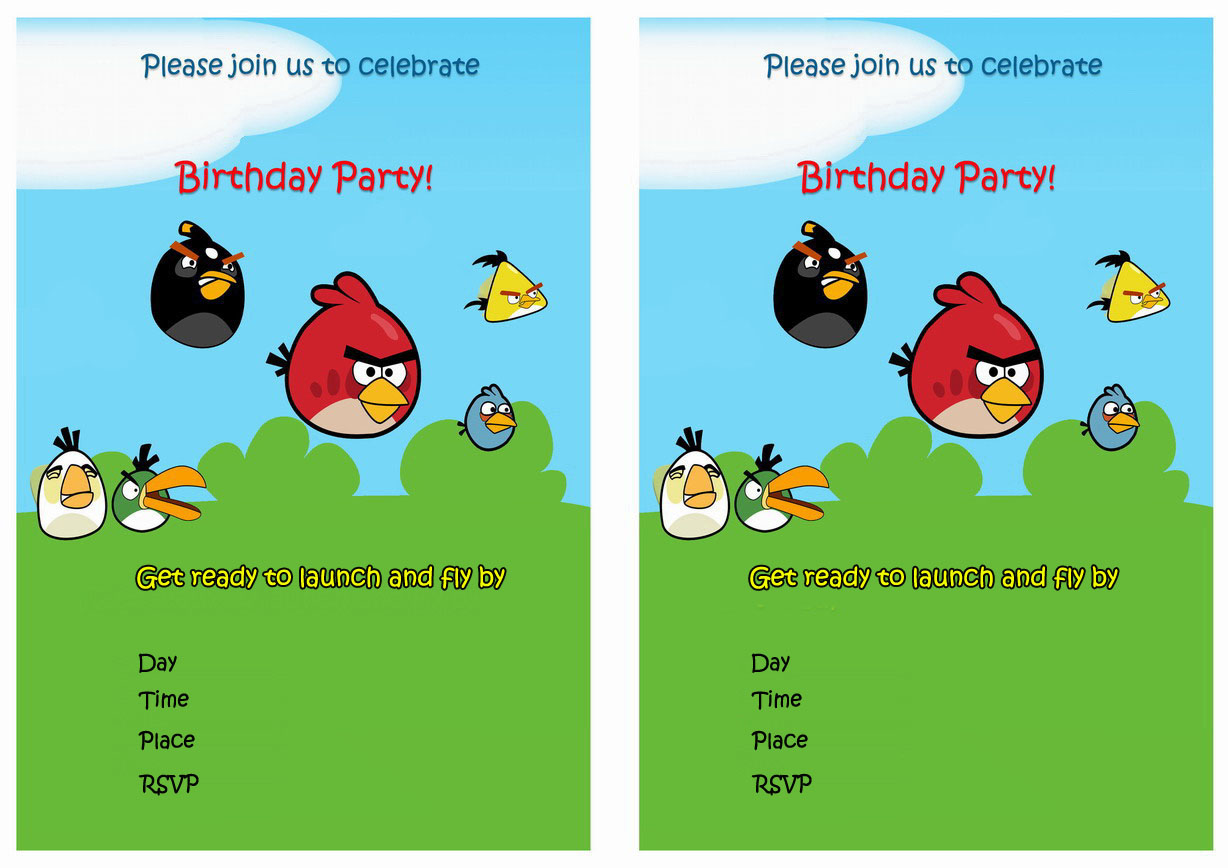 6 best images of angry birds printable invitations free for Angry birds birthday party invitation template free