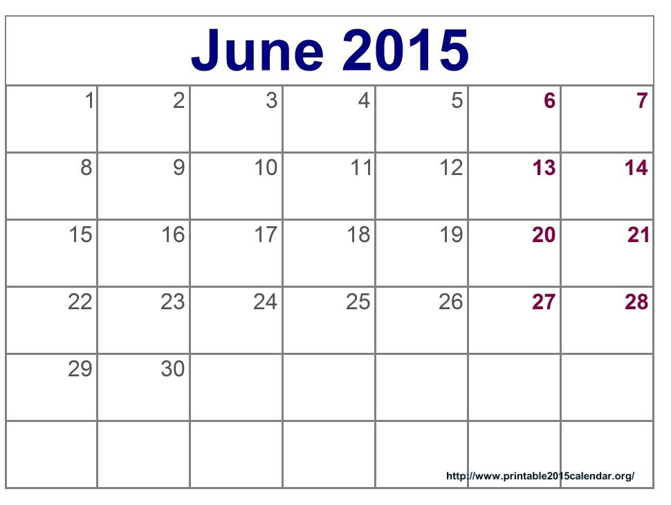 7 Images of 2015 Printable Calendar June