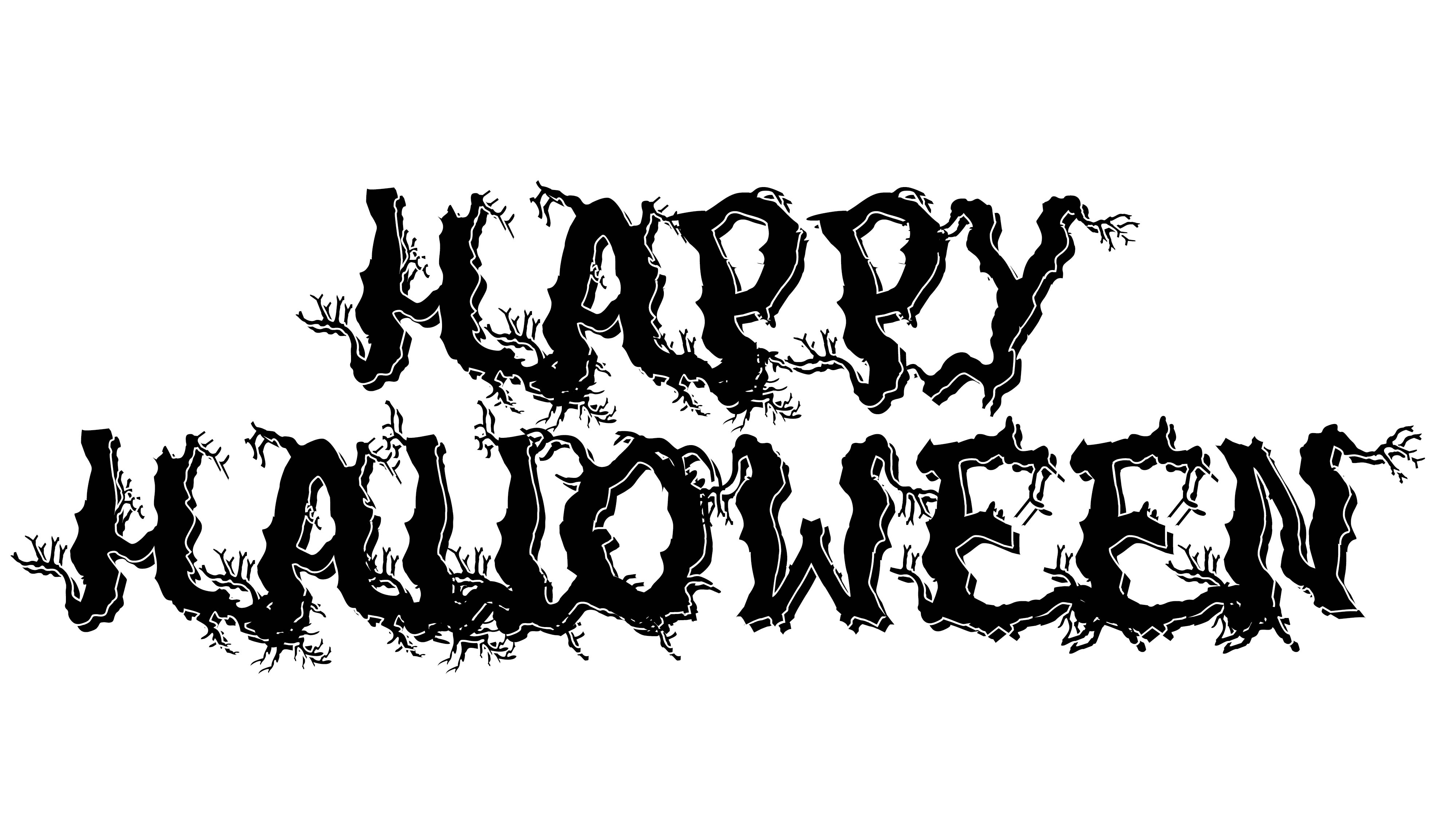 Black and White Halloween Spooky Letters