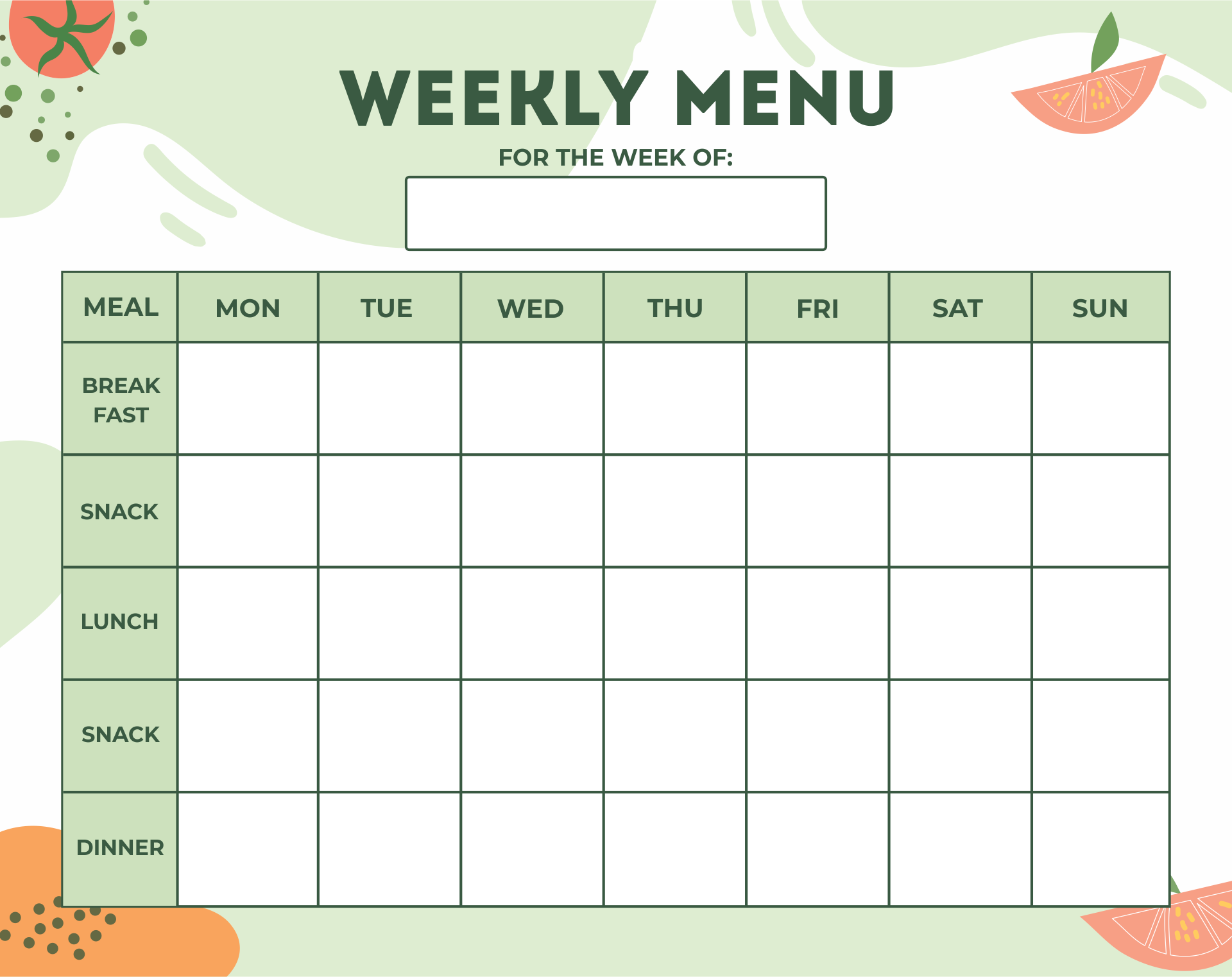 Blank Day Care Weekly Menu Planner Template