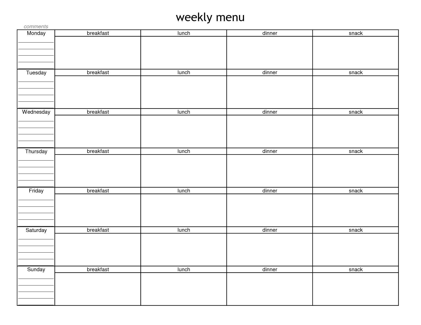 Weekly Food Menu Template 5 best images of free printable blank weekly ...