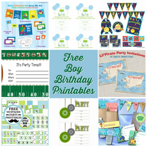 Boy Birthday Party Free Printables