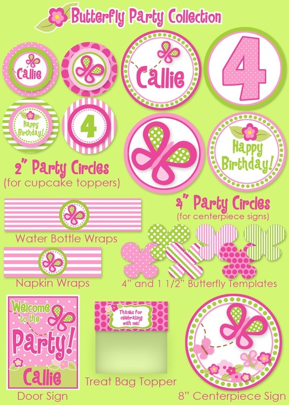 5 Images of Butterfly Party Printables
