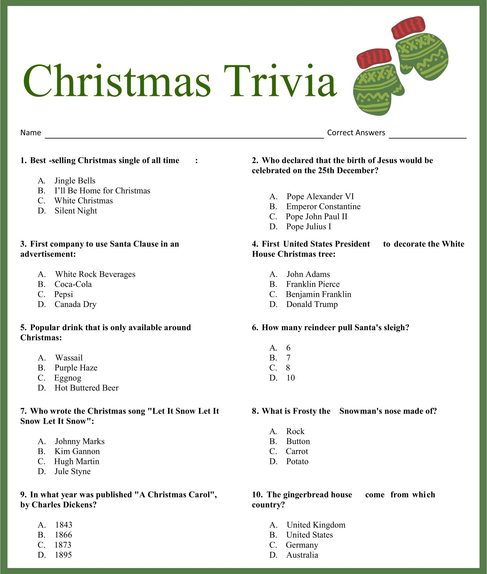Christmas Carol Trivia Quiz Printable