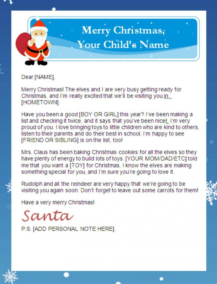 8 Images of Santa Letter Printable Thank You