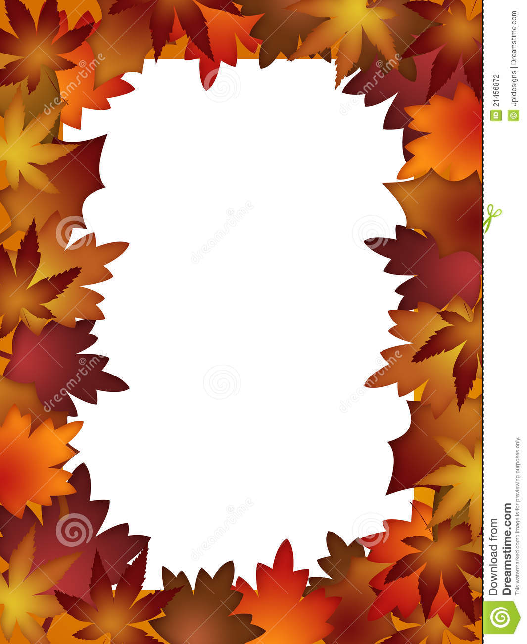 Printable autumn leaves border