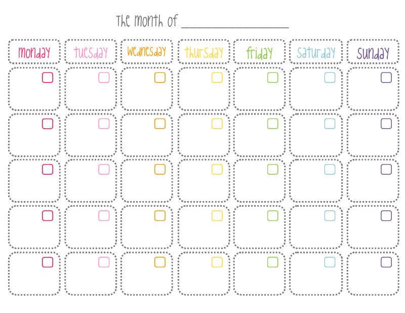 7 Images of Cute Printable Blank Monthly Calendar