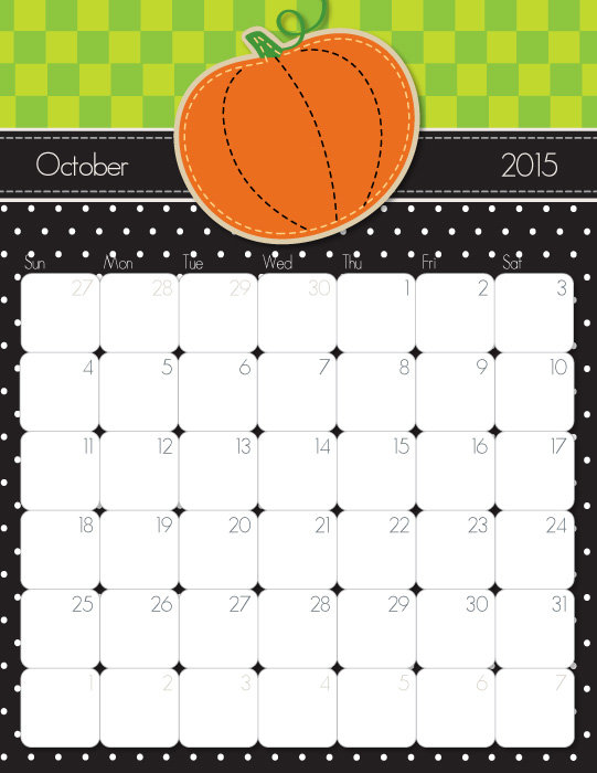 7 Images of Cute October 2015 Calendar Printable Free
