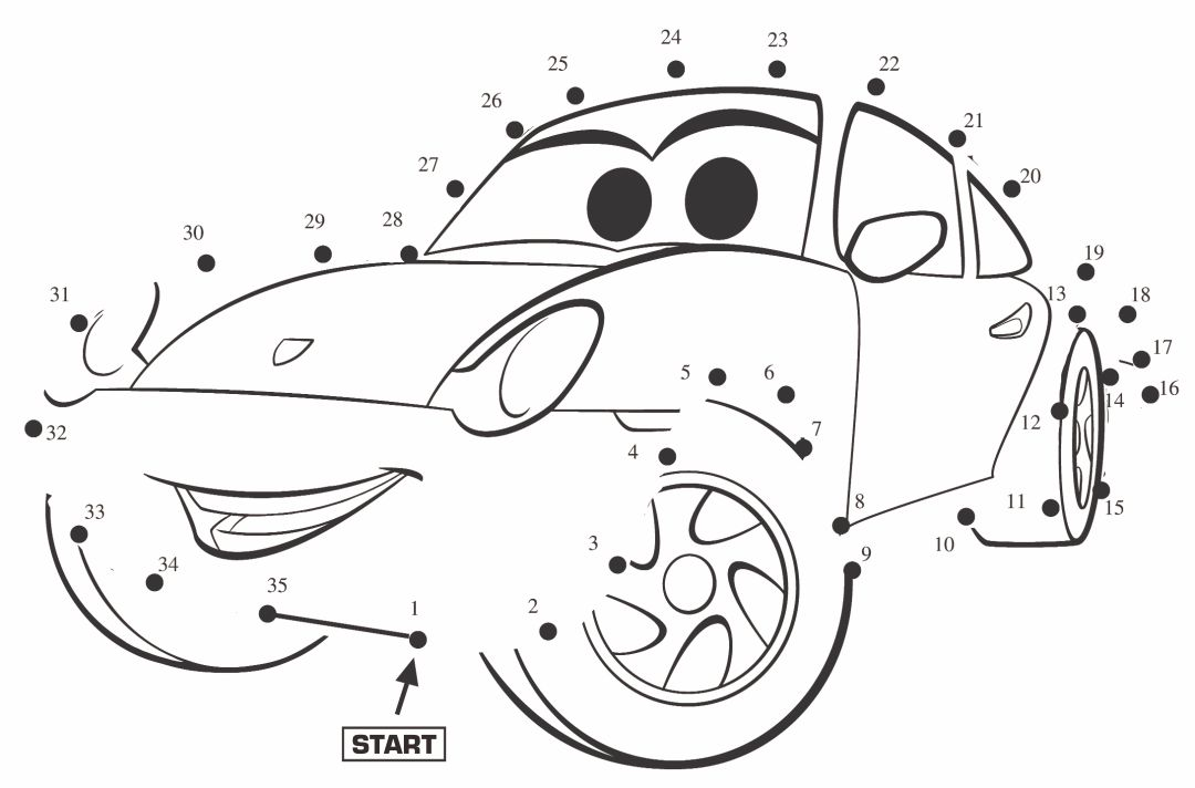 Disney Cars Connect the Dots Worksheets