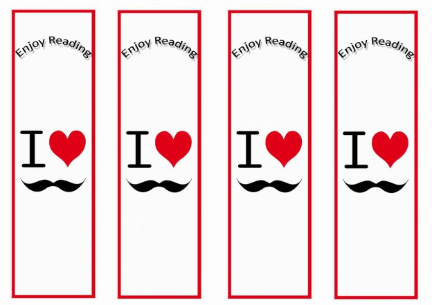 9 Images of Mustache Printable Bookmarks