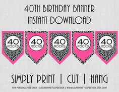 Free Printable 40th Birthday Banner