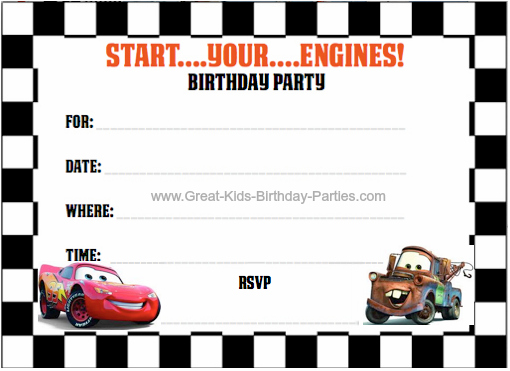7 Images of Cars Party Invitations Free Printable