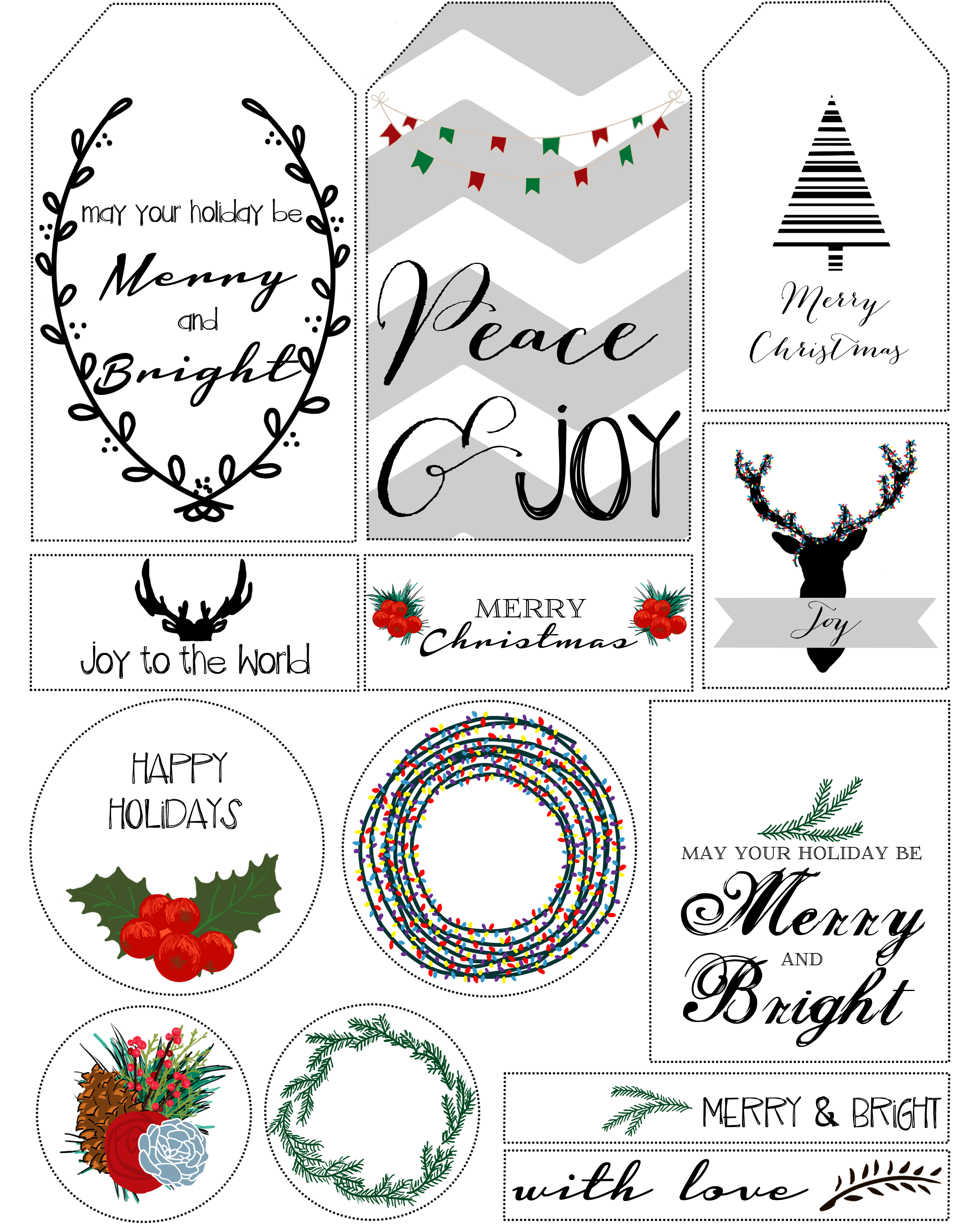 5 Images of Beautiful Printable Christmas Gift Tags