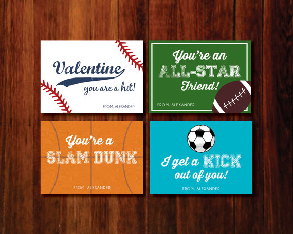 6 Images of Printable Sports Valentine Cards