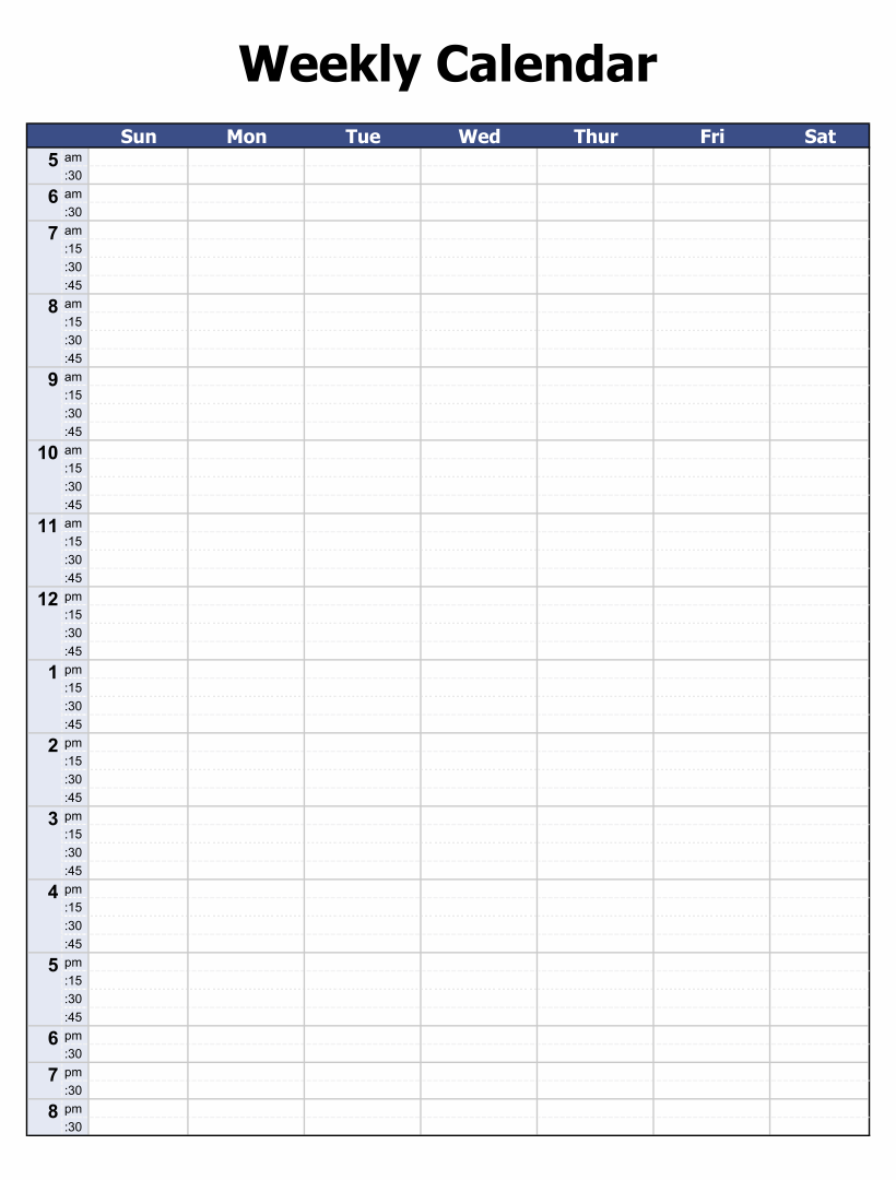 Free Printable Weekly Calendar with Time Slots