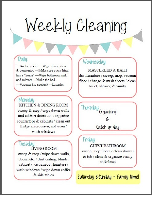 Schedule and checklist free weekly cleaning schedule amp free cleaning