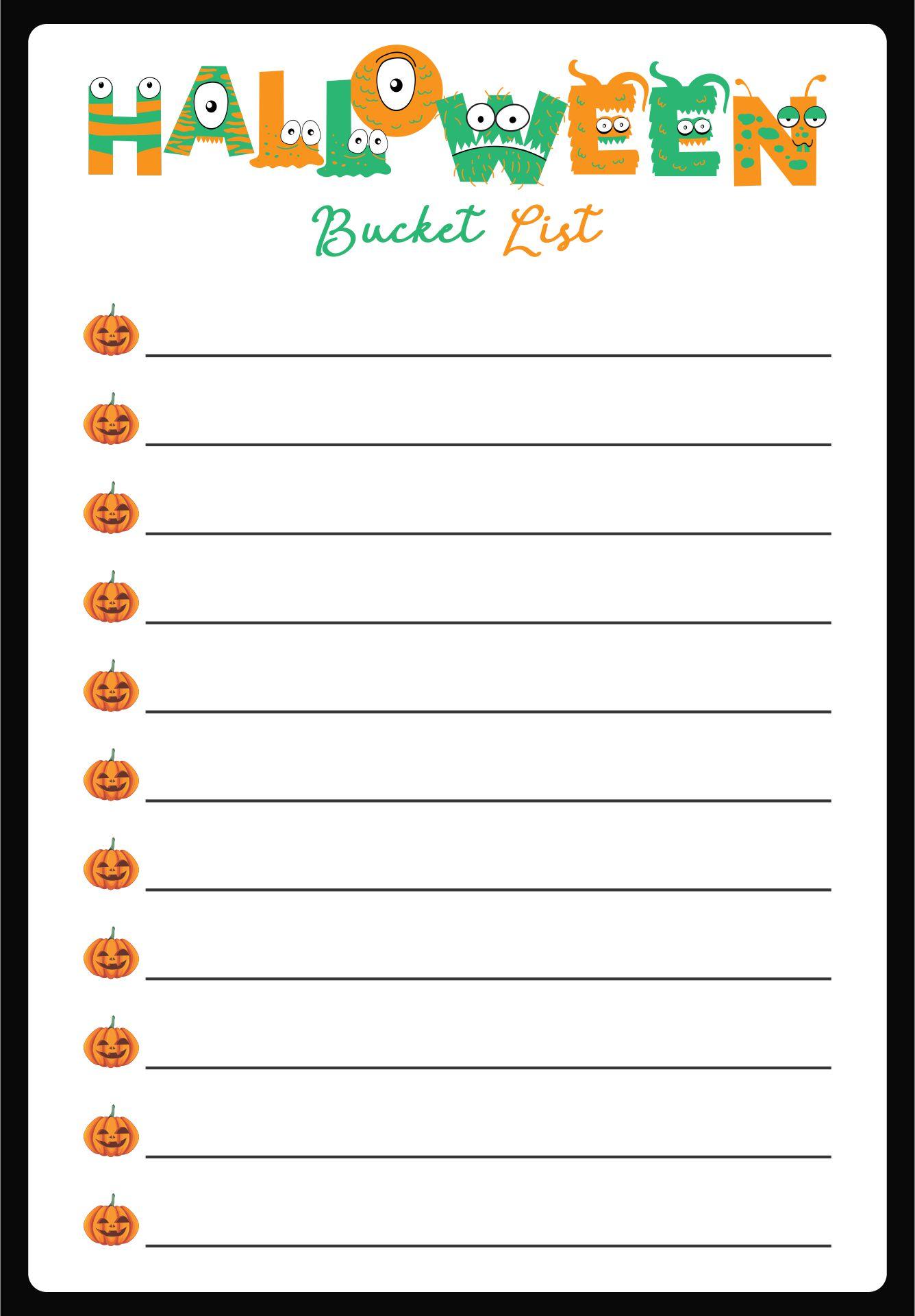 Halloween Bucket List Printable
