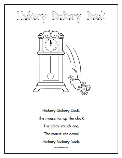5 Images of Hickory Dickory Dock Printable