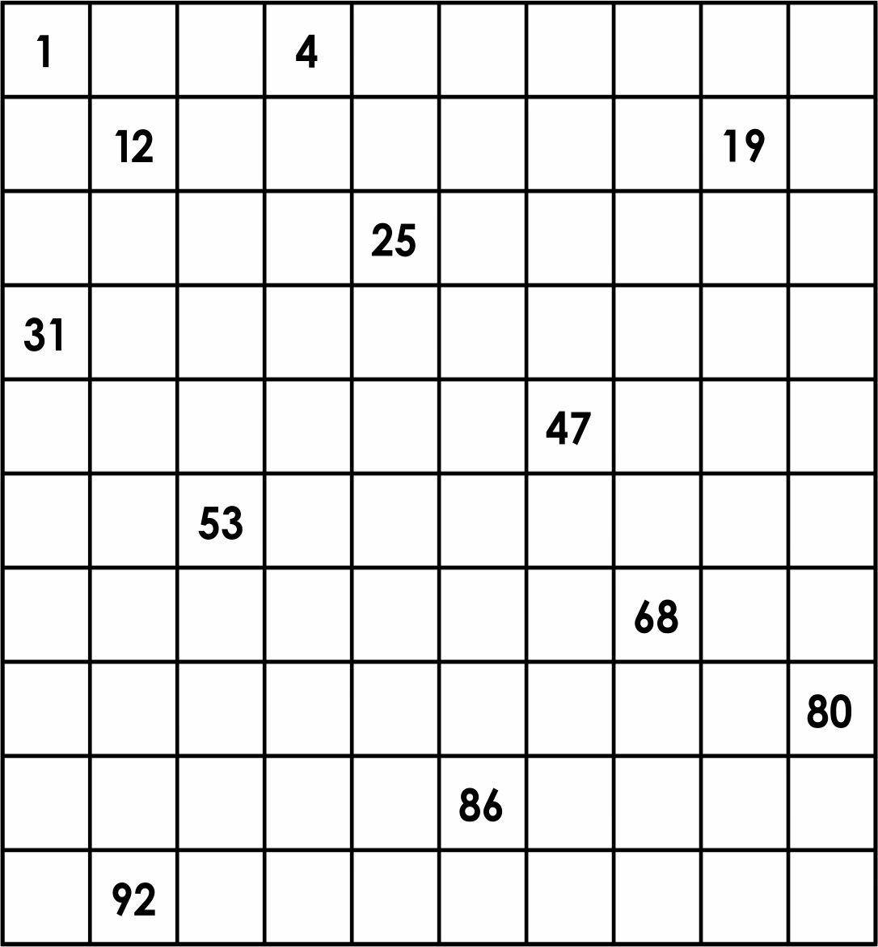 Hundred Printable 100 Number Chart Blank