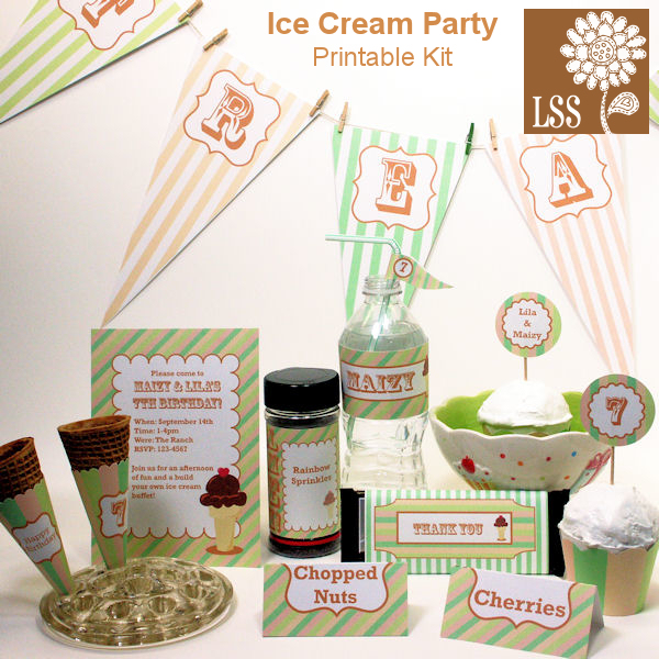 4 Images of Ice Cream Party Printable Freebies